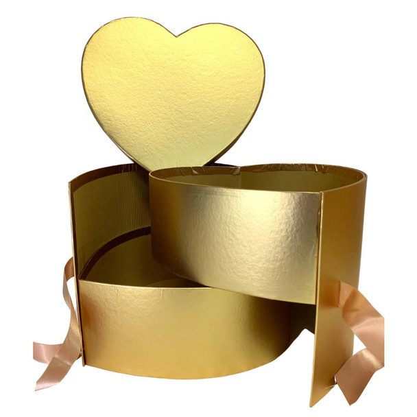 """10"""" Gold Double Level Heart Floral  Box"""
