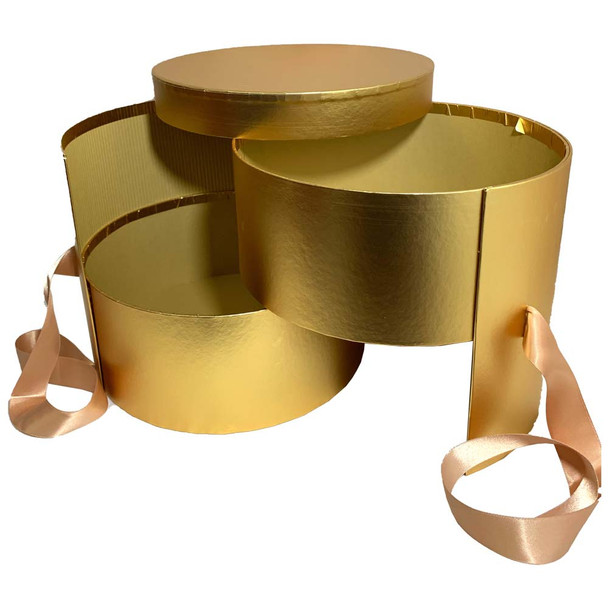 """9"""" Gold Double Level Floral Box"""