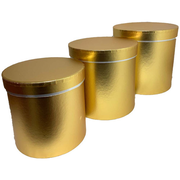 """7.75"""" Gold Floral Hat Box with Lid - Set of 3"""