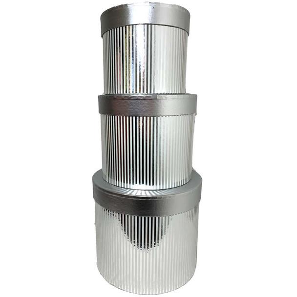 "Metallic Silver 9"" Round Floral Box Set of 3"