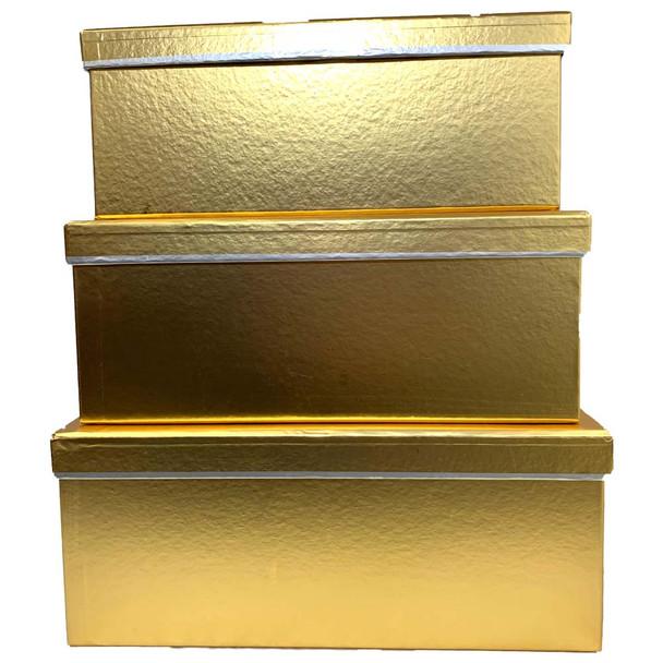 Gold Metallic Rectangular Floral  Box Set of 3