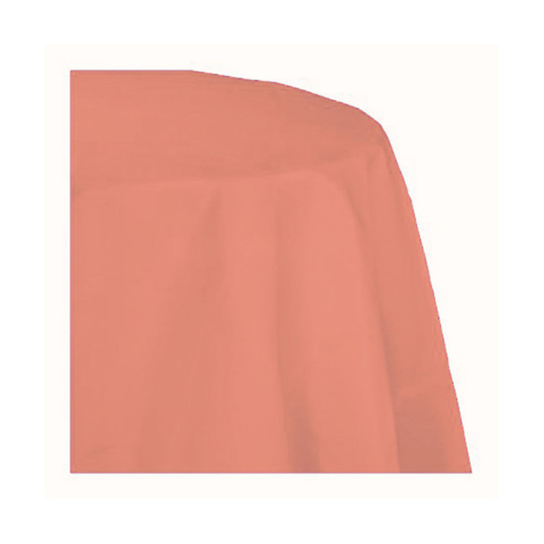 """120"""" Coral Round Polyester Table Cover"""