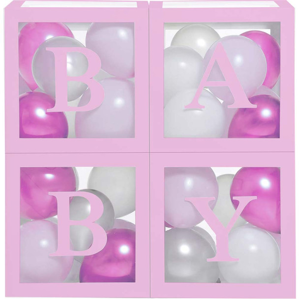 Pink Balloon Baby Boxes - 4 Pieces
