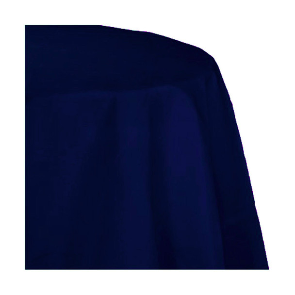 "120"" Navy Blue Round Polyester Table Cover"