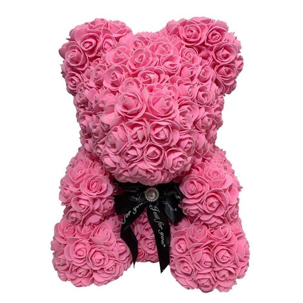 """14"""" Pink Rose Foamy Teddy Bear in Box"""