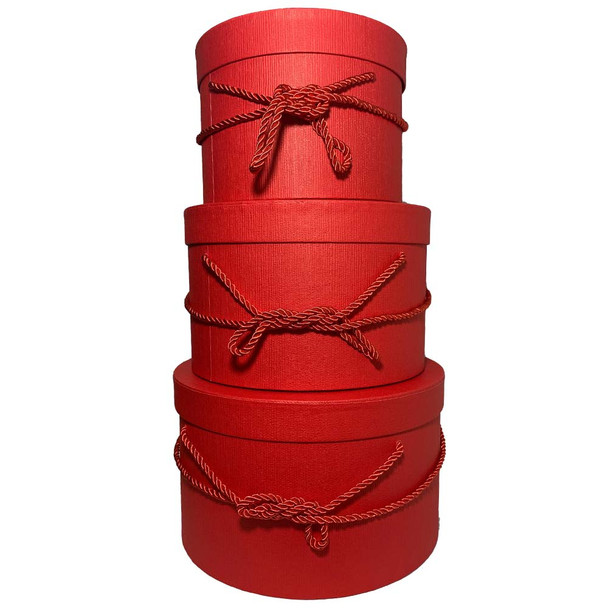 """10"""" Red Round Gift Hat Boxes Set of 3."""