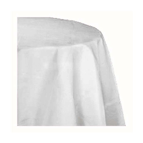 "120"" White Round Polyester Table Cover"