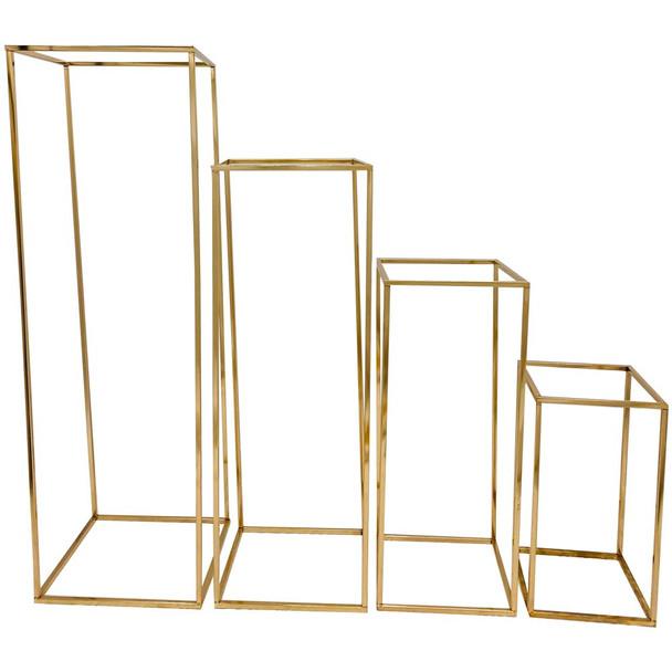 """39.5"""" Gold Hollow Pedestal Column Set of 4"""