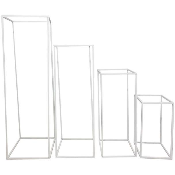 """39.5"""" White Hollow Pedestal Column Set of 4"""