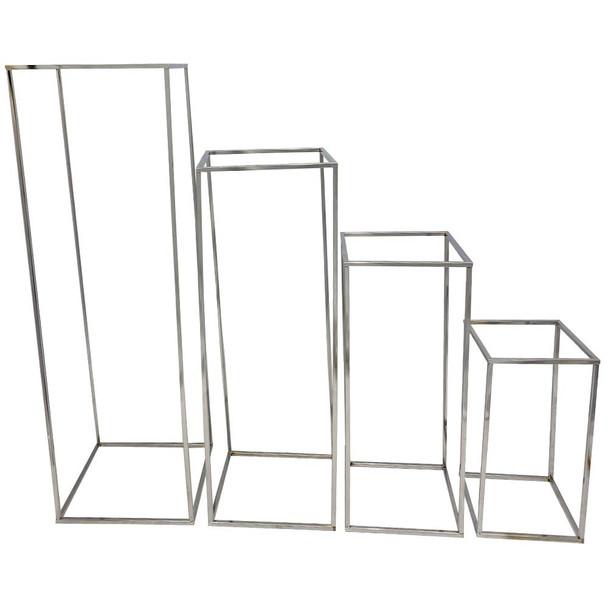 """39.5"""" Silver Hollow Pedestal Column Set of 4"""