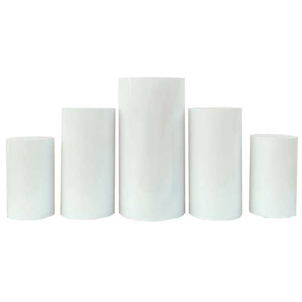 White Oversized Pedestal Columns - Set of 5