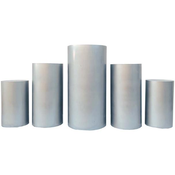 Silver Oversized Pedestal Columns - Set of 5