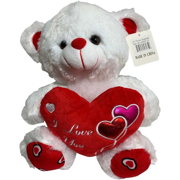 "12"" White Teddy Bear with Metallic Hearts"