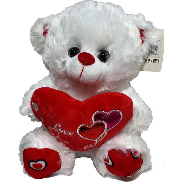 "10"" White Teddy Bear with Metallic Hearts"