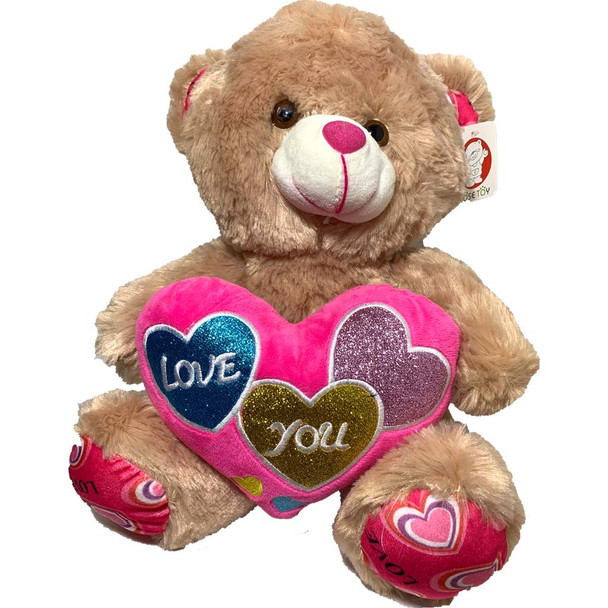 "14"" Caramel Teddy Bear with Embroidered Hearts"