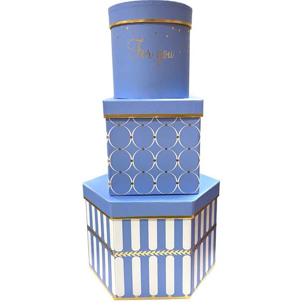 "9"" Geometric Shapes Floral  Box Set of 3 - Blue"