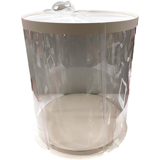 "14"" Tall Acrylic Round Display Box - White"