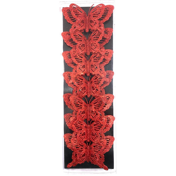 """5.5"""" Large Red Double Level Glittered Butterflies - 7 Pieces"""