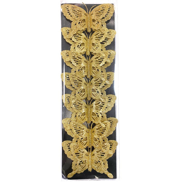 """5.5"""" Large Gold Double Level Glittered Butterflies - 7 Pieces"""