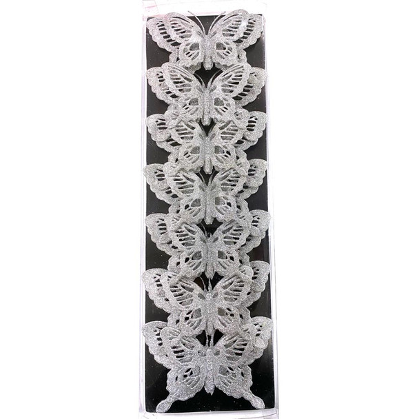 """5.5"""" Large Silver Double Level Glittered Butterflies - 7 Pieces"""
