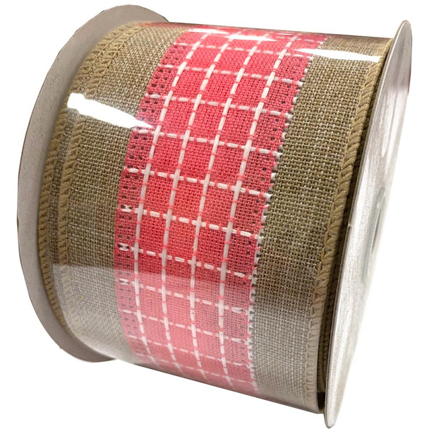"2.5"" Pink Checkerboard Burlap Ribbon - 10 Yards"