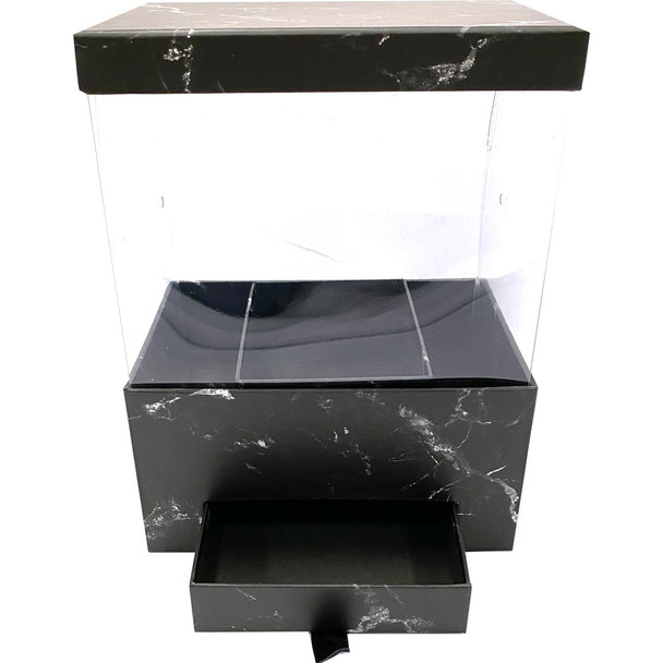 """12"""" Marbled Floral Box with Drawer and Insert - Black"""