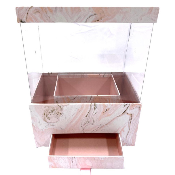"""12"""" Marbled Floral Box with Drawer and Insert - Pink"""