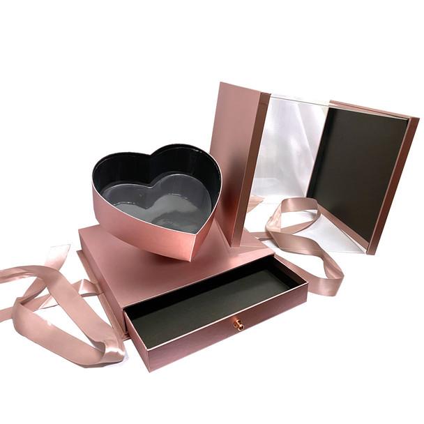 "10.5"" Luxury Heart Display Box with Drawer - Metallic Rose Gold"