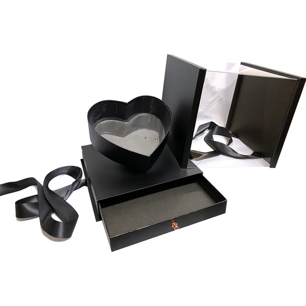 """10.5"""" Luxury Heart Display Box with Drawer - Textured Black"""