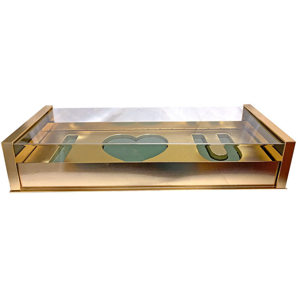 Acrylic Gold Deep Love Floral Gift Box with Fresh Foam