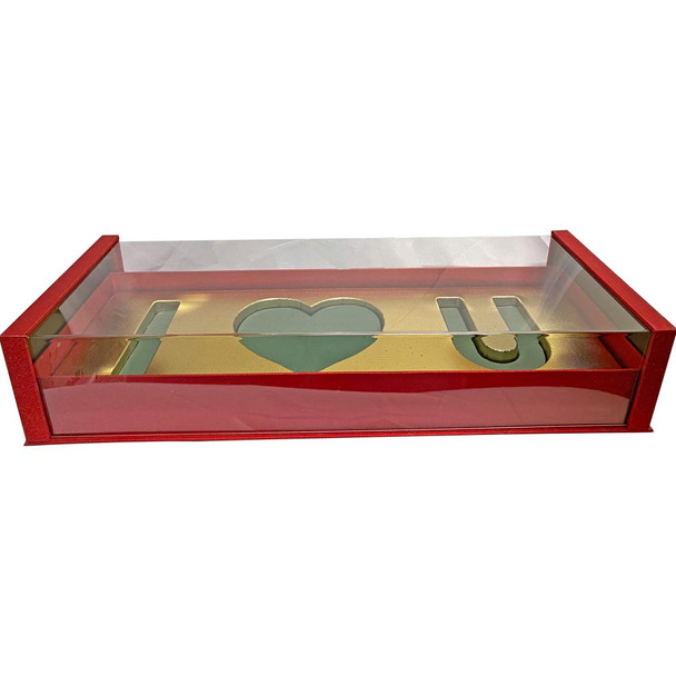 Acrylic Red Deep Love Floral Gift Box with Fresh Foam