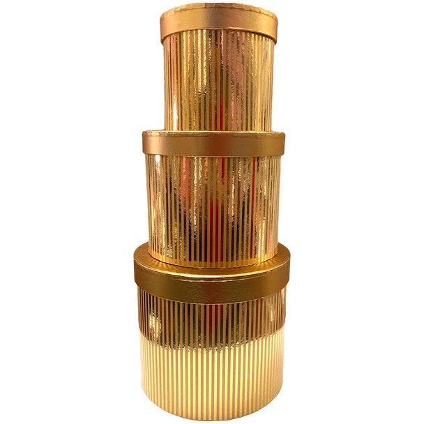 """7.75"""" Gold Stripped Floral Hat Box with Lid - Set of 3"""
