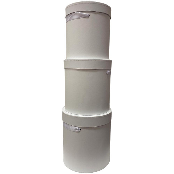 Tall White Cylinder Floral Box Set of 3 with Ribbon