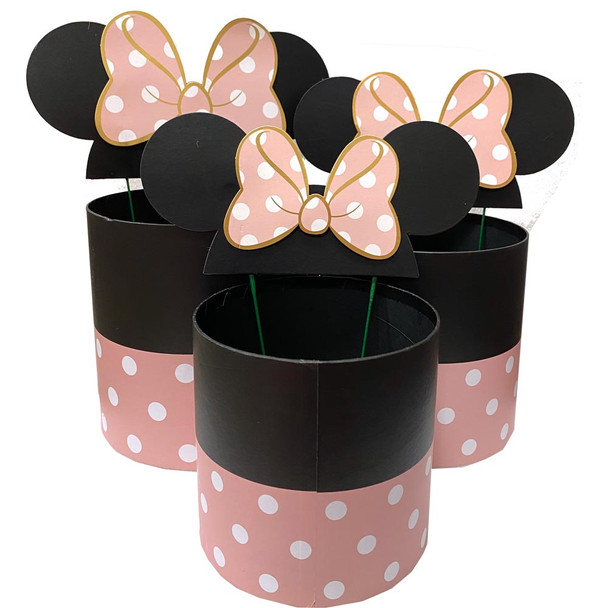 Pink Bow Mouse Ears Floral Box Set of 3