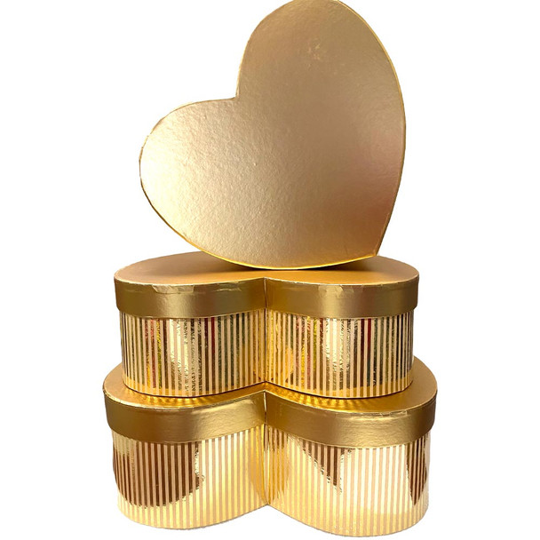 Metallic Large Gold Heart Floral Box Set of 3