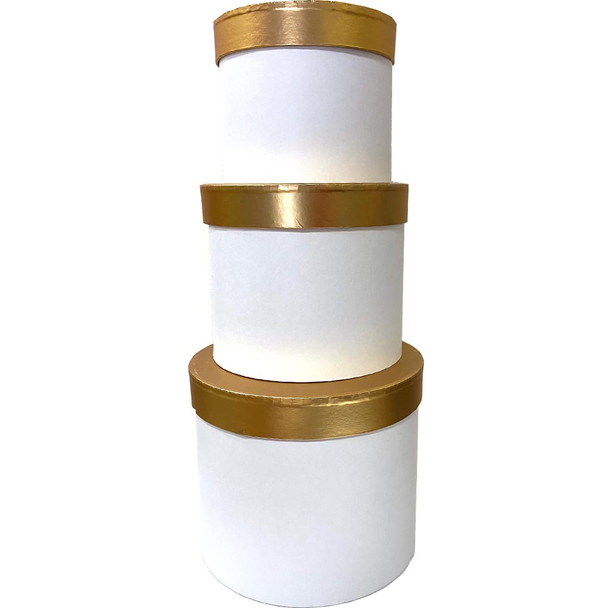 Gold Lid Floral Box - White - Set of 3