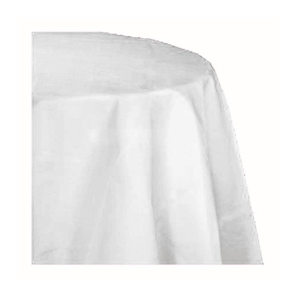"90"" White  Round Polyester Table Cover"