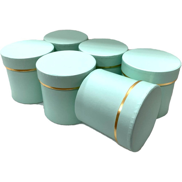 """4"""" Single Rose Round Floral  Box - 6 Pieces - Green"""