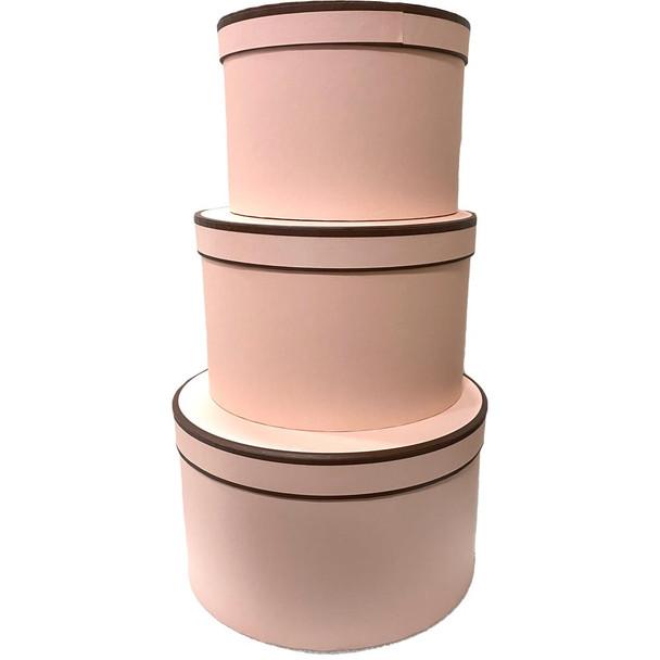 "10"" Designer Floral Round Box - Set of 3 - Peach"
