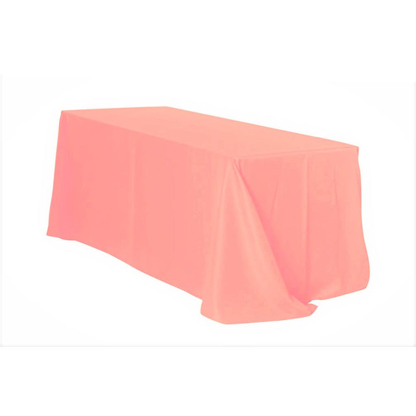 "90"" x 132"" Coral Rectangular Polyester Table Cover"