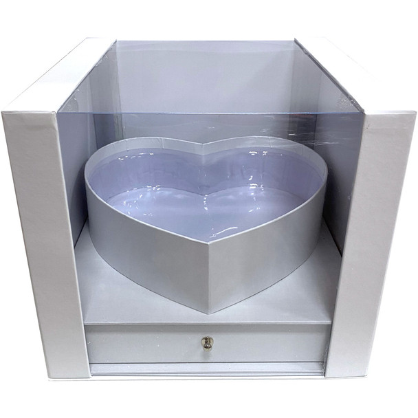 """9.5"""" Heart Display Box with Drawer - White"""