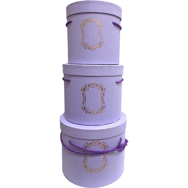 Tall Lavender Cylinder Floral Hat Box Set of 3