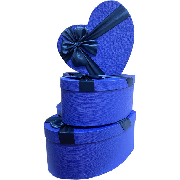 """12"""" Royal Blue Floral Heart Gift Box with Ribbon - Set of 3"""