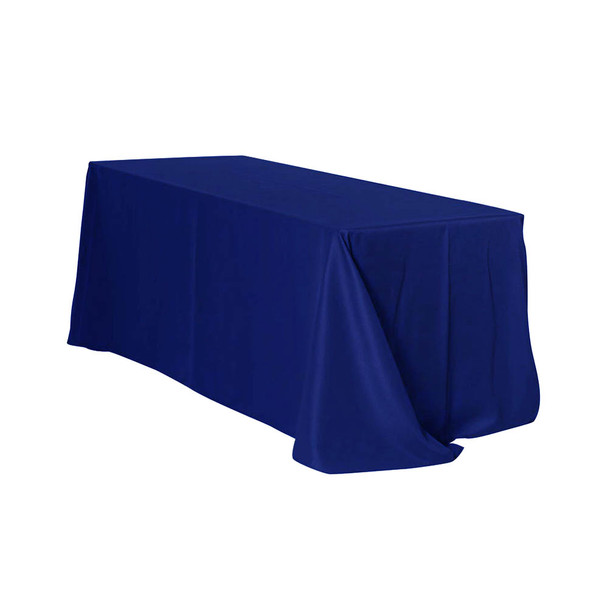 "90"" x 132"" Navy Blue Rectangular Polyester Table Cover"