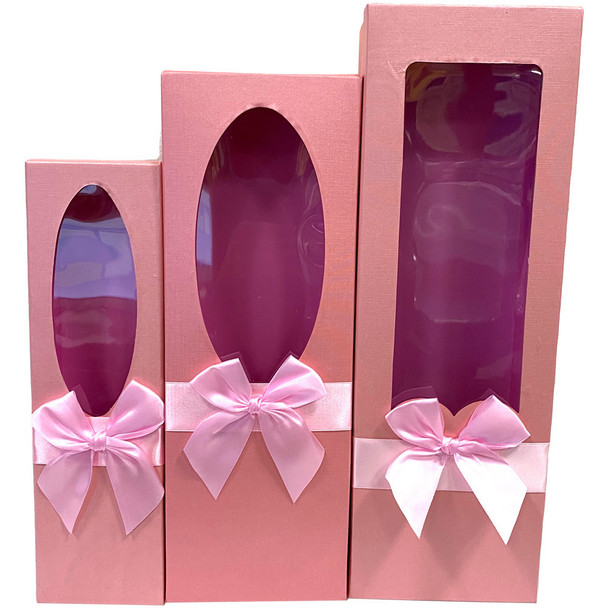"""17.5"""" Pink Floral Gift Boxes with Window Set of 3"""