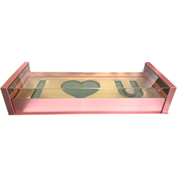 Acrylic Rose Gold Deep Love Floral Gift Box with Fresh Foam
