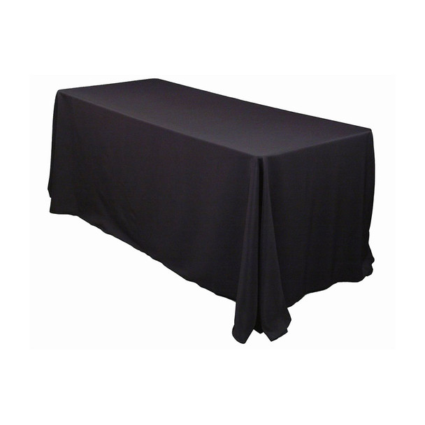 "90"" x 156"" Black Rectangular Polyester Table Cover"