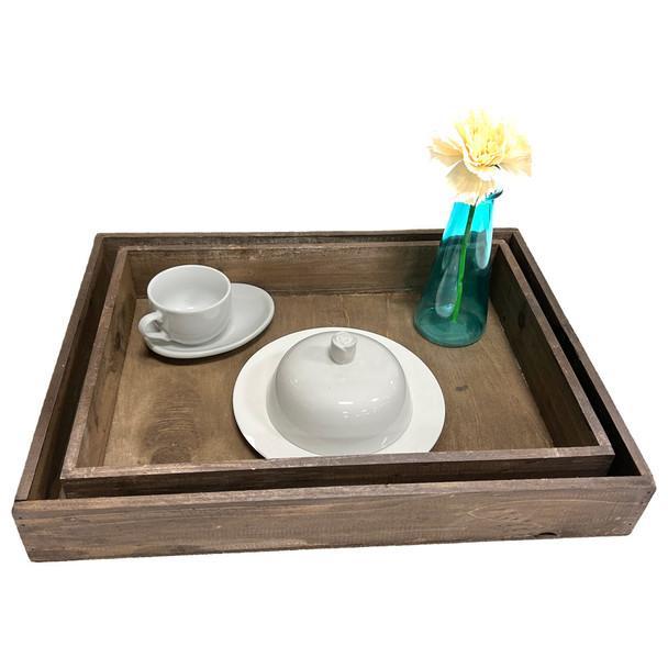 "16.75"" Surprise Breakfast Wooden Tray - Set of 2 - Brown"