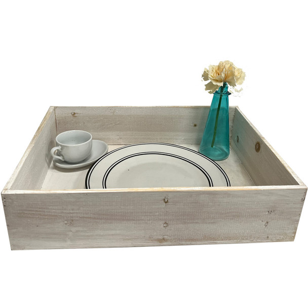 """16.75"""" Surprise Breakfast Wooden Tray - Extra Deep - White Wash"""