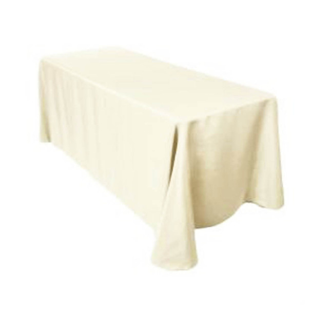 "90"" x 156"" Ivory Rectangular Polyester Table Cover"